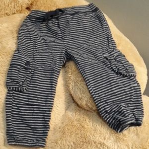 Navy blue and grey striped cargo pants